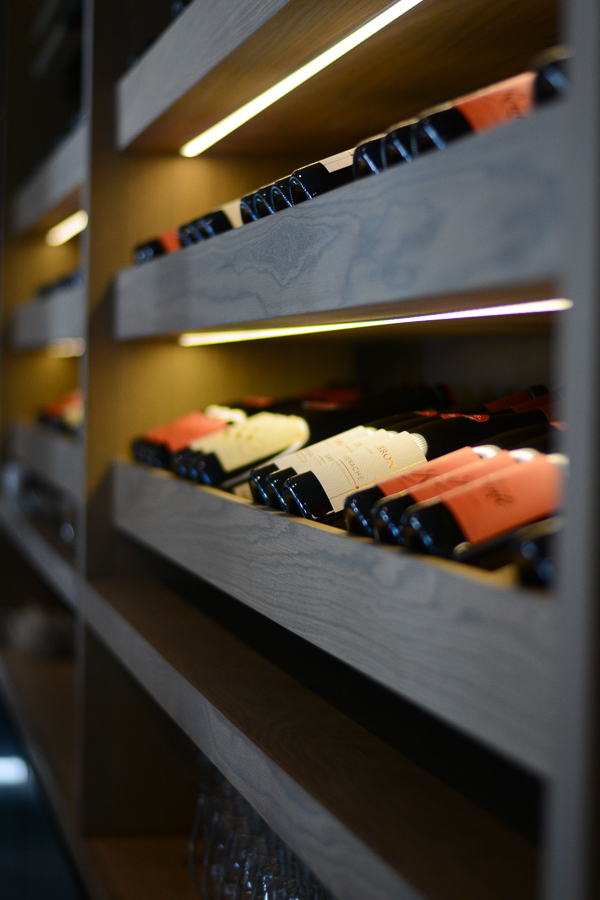 Wine Shelf at Upmarket restaurant in Paarl, Cape Town